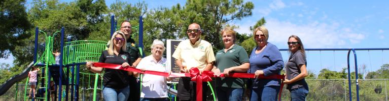 Ribbon Cutting for Mary DeWees new playground thanks to ECHO